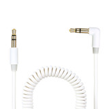 Gecko 3.5mm AUX audio 90° coiled cable 1.8m - White