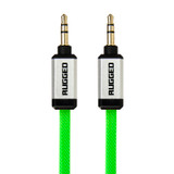 Rugged 3.5mm AUX audio flat cable 1.0m - Green