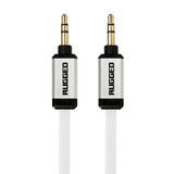 Rugged 3.5mm AUX audio flat cable 1.0m - White