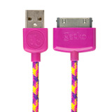 USB to 30-Pin Cable Braided 1.2m - Pink/Purple