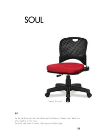 Ergonomic chair SOUL without armrest (Home or Office user) - PN 9026
