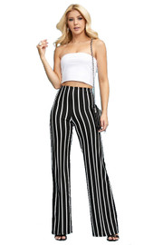 Stripe, full length Pants in a flare style with a high waist, and wide legs - MADE IN US