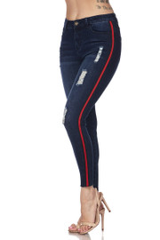 LINE SIDE SKINNY JEANS. 23% POLYESTER 5% VISCOSE 2% SPANDEX - ORIGINATED FROM US : MADE IN MEXICO