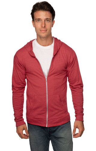 Unisex eco Tri Jersey Full Zip Hoody - 50% RPET polyester 37% Organic cotton 13% rayon 4.5 oz/sq yd - MADE IN US