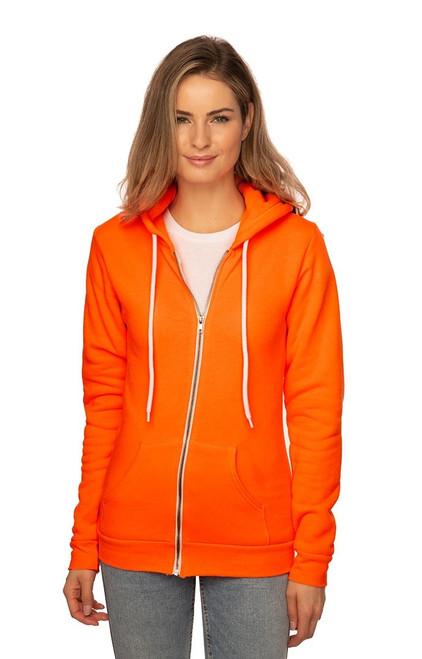 Unisex Fashion Fleece Neon Zip Hoody - PN 10988 - MADE IN US