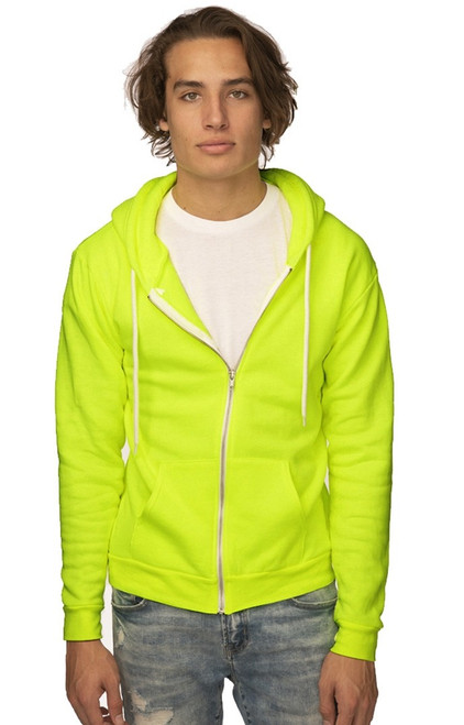 Unisex Fashion Fleece Neon Zip Hoody - PN 10989 - MADE IN US