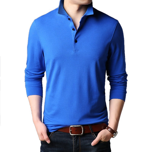 Men's polo shirt 100% cotton long sleeve dress shirt - MADE IN CHINA