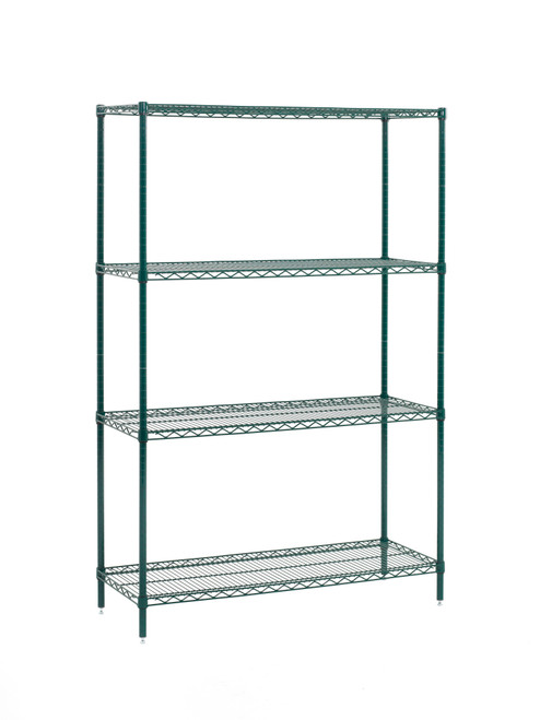 "Olympic JEZ1848K-4-SR 4-Shelf Wire Shelving Convenience Pack, 18"" x 48"" x 74"""