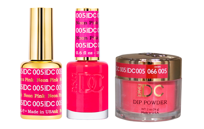 DND DC 3IN1 MATCHING(GEL+LACQUER+DIP) - #DC005- Neon Pink
