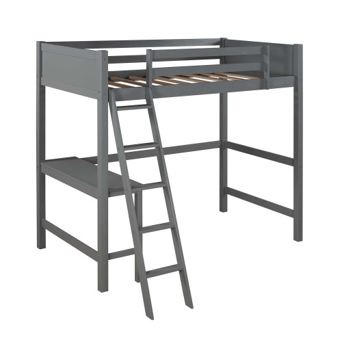 Twin size Loft Bed with Desk and Ladder-Gray Bedroom Furniture 425.75 THEGSND LLC