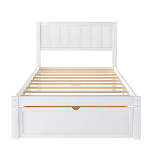 Twin Size Platform Bed with Under-bed Drawer, White RT