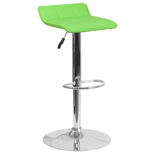 Contemporary Vinyl Adjustable Height Barstool with Quilted Wave Seat and Chrome Base
