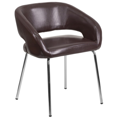 Fusion Series Contemporary LeatherSoft Side Reception Chair with Chrome Legs