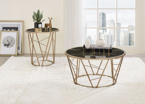 Cicatrix End Table, Faux Black Marble Glass & Champagne Finish YJ