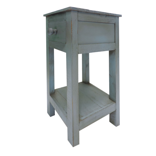 Rough Sawn Textured Wooden Side Accent Table With Drawer, Blue