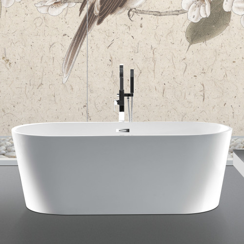 100% Acrylic Freestanding Bathtub Contemporary Soaking Tub with Brushed Nickel Overflow and Drain