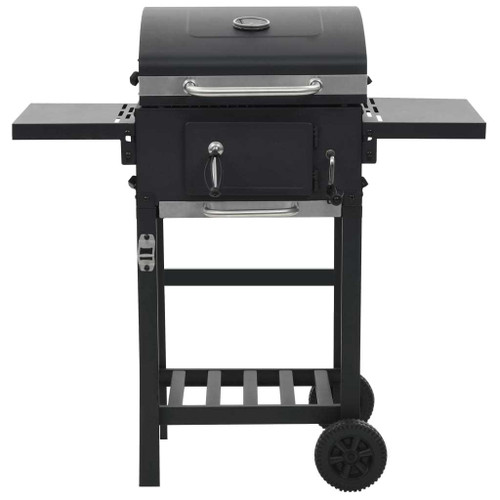 Charcoal-Fueled BBQ Grill with Bottom Shelf Black