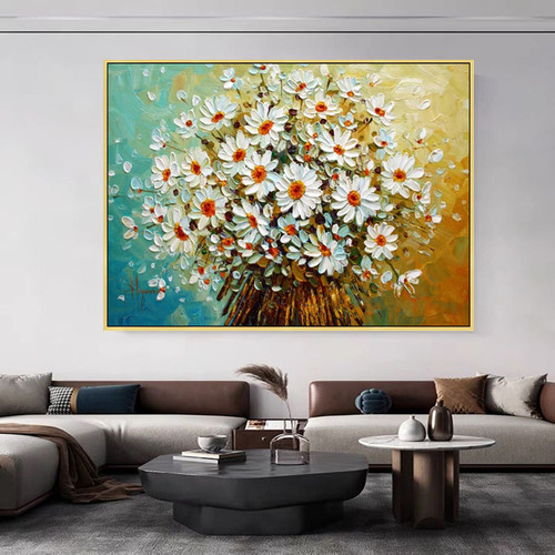 Canvas Oil Painting palette knife 3D texture acrylic Flower Wall art Picture For Living Room home decor quadros cuadro decoracion