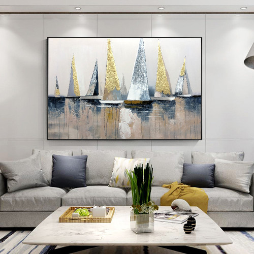 100% Hand Painted Abstract Modern Boat Pictures Art Oil Painting On Canvas Wall Art Wall Painting For Living Room Home Decoration