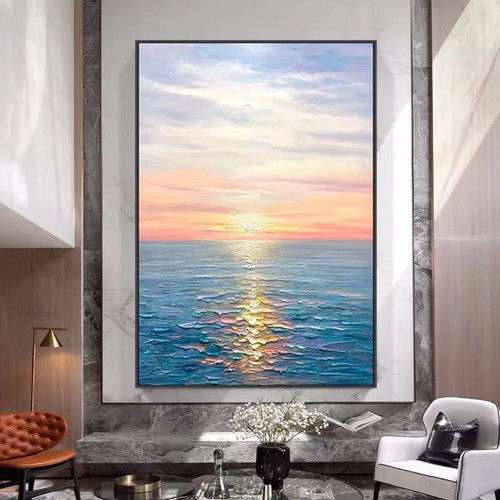 Hand Painted Abstract Oil Painting Wall Art Seascape Picture Minimalist Modern On Canvas Decorative For Living Room No Frame