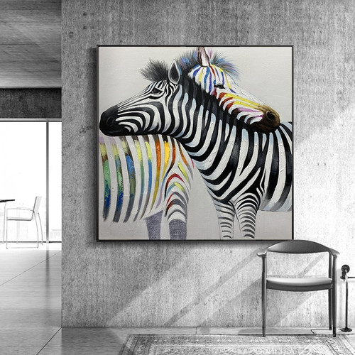 Colorful Zebra Wall Art Canvas Painting Restoring ancient ways Animal Posters 100% Handmade Living Room Pictures Unframed