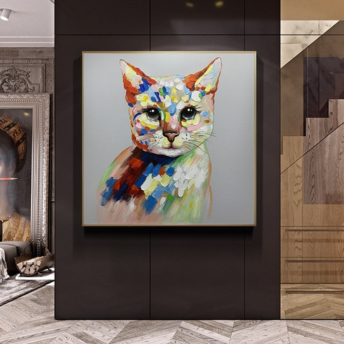 Modern Children Room Decoration Lovely Pet Cat Picture Art Hand-painted Abstract Oil Painting Animal Canvas Wall Art Pieces