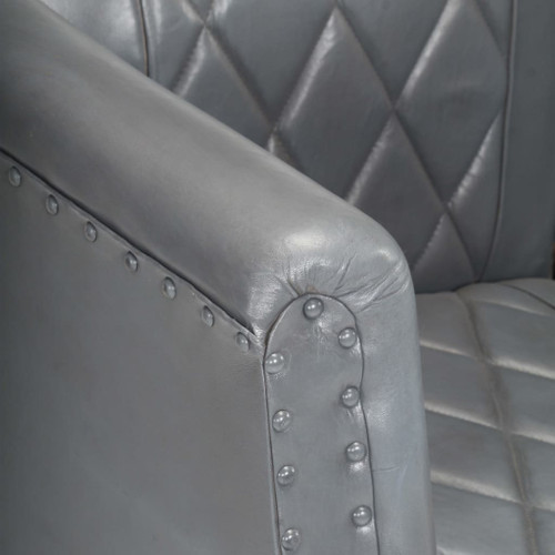 Tub Chair Gray Real Goat Leather