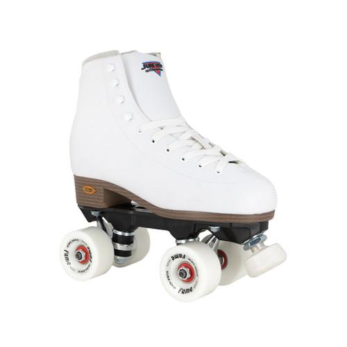Front Facing White Sure-grip Fame Roller Skates from Roller Skate Nation
