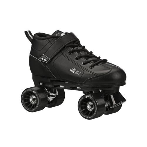 Front Facing Black Pacer GTX-500 Roller Skates From Roller Skate Nation