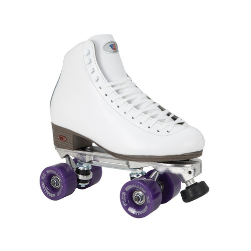 Front Facing White Riedell 120 Roller Skates with Purple wheels From Roller Skate Nation