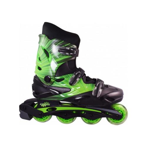 Side Facing Green Linear Lazer Roller Blades from Roller Skate Nation