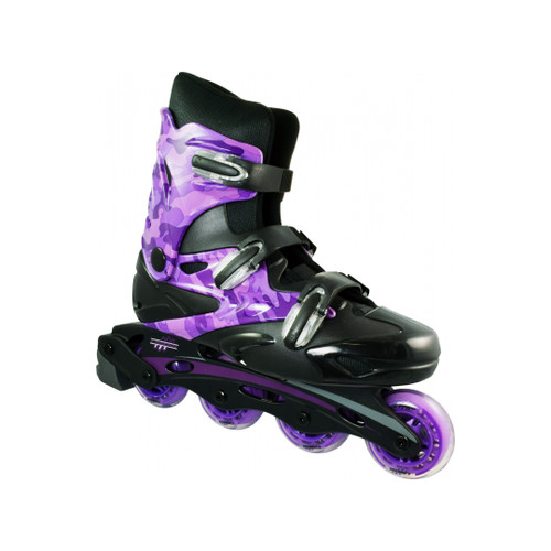 Front Facing Purple Linear Camo Roller Blades from Roller Skate Nation