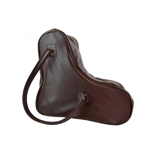 Side Facing Brown Lenexa Faux Leather Skate Bag from Roller Skate Nation