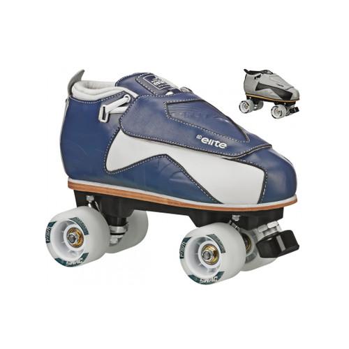 Side Facing Grey and Blue Roller Derby Primo Roller Skates from Roller Skate Nation