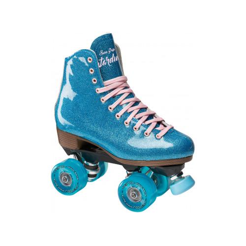 Front Facing Blue Sure-Grip Stardust Roller Skates from Roller Skate Nation
