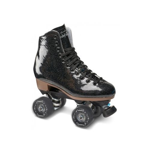 Front Facing Black Sure-Grip Stardust Roller Skates from Roller Skate Nation