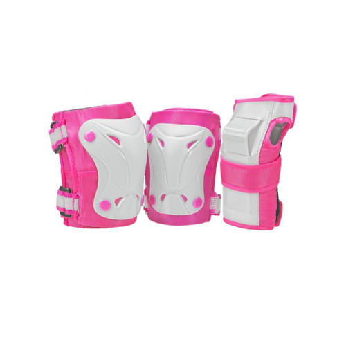 Front Facing Pink and White Roller Derby Tri-Pack Kids Protective Gear from Roller Skate Nation