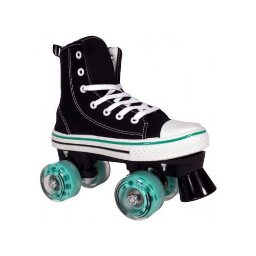 Front Facing 2 Black and Teal Lenexa MVP Roller Skate from Roller Skate Nation