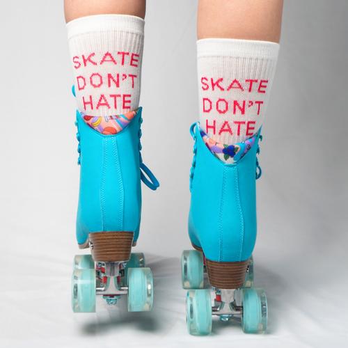 Back Facing White Skate Don't Hate Statement Socks from Roller Skate Nation