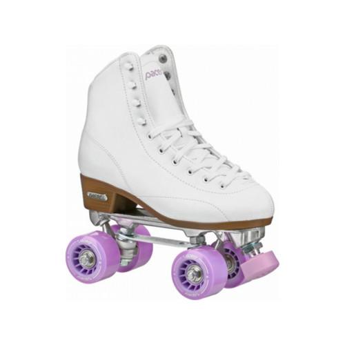 Front Facing White Pacer Stratos Roller Skates  from Roller Skate Nation