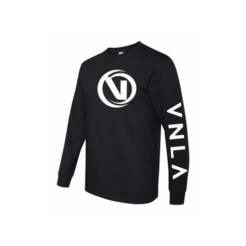 Front Facing Black VNLA Long Sleeve Shirt from Roller Skate Nation