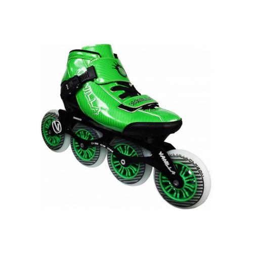 Front Facing Green VNLA Carbon Roller Blades from Roller Skate Nation