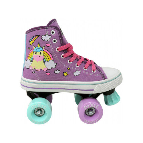 Side Facing Purple Pixie Unicorn Roller Skates from Rollerskatenation