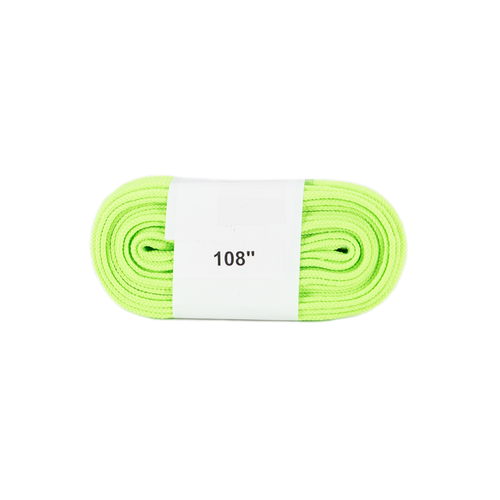 Front Facing Neon Lime Green Roller Skate Nation Hockey Laces from Roller Skate Nation