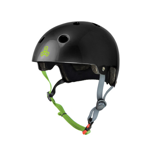 Front Facing Black Triple 8 Dual Certified Gloss Helmet from Roller Skate Nation