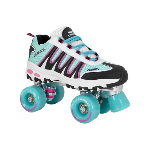 Front Facing Teal/Black Sonic Cruiser Roller Skates  from Roller Skate Nation