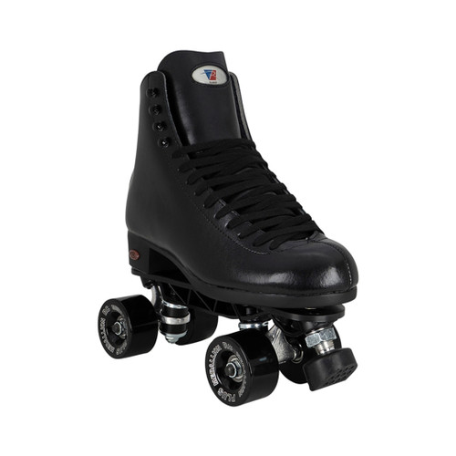 Front Facing Black Riedell 120 Roller Skates with white wheels From Roller Skate Nation