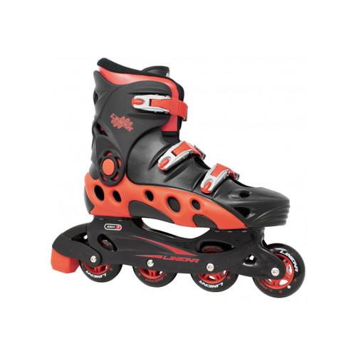 Front Facing Black/Orange Linear Durango Roller Blades from Roller Skate Nation