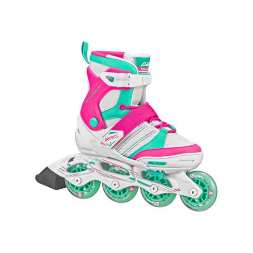 Front Facing Pink/White/Teal Pacer Explorer Kids Adjustable Inline Skates from Rollerskatenation