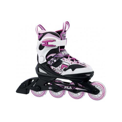 Front Facing Black/Magenta FILA J-one Kids Adjustable Inline Skates from Rollerskatenation